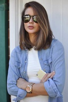 ... Medium ash brown hair color with blonde highlights to long bob hairstyles with long side bangs ...