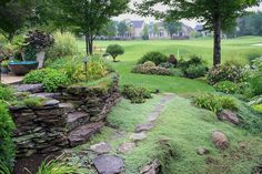 Lovely natural stone ledge with pathways and different levels. || Creative Backyard Garden Ideas ~ Backyard Garden: Ideas, Creative, Garden, Backyard, Backyard Garden,