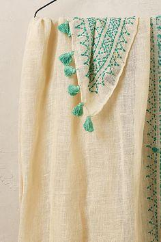 Mazara Embroidered Linen Scarf, Cream - anthropologie.com