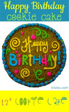 Send a delicious Happy Birthday Brownie Cake to a lucky birthday boy or girl. We took our classic Chocolate Chip Cookie and made it bigger, better, and cake-ier. This 12″ Cookie Cake makes for a delicious gift .