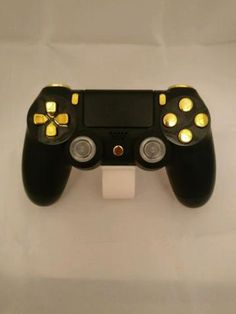 New Official Ps4 Controller Customised Black Shell w/ Chrome Gold By Primzstar Modz