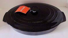 "NEW Le Creuset Shiny Black Oval Stoneware 3.75 Qt. 14"" Covered Casserole Dish #LeCreuset"