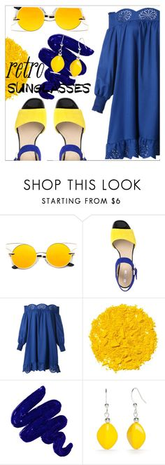 """retro sunglasses"" by lovedreamfashion ❤ liked on Polyvore featuring Geox, WithChic, Illamasqua, Obsessive Compulsive Cosmetics, Retrò, Kim Rogers, yellow, Blue, sunglasses and retro"