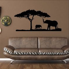 Elephants and Tree African Safari Savannah Vinyl Wall Decal 22344