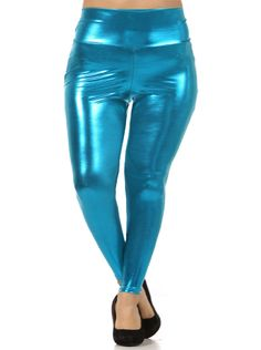 Plus Size Shine Bright High Waist Teal Leggings Trendy Plus Size, Plus Size Women, Plus Size Clubwear, Green Leggings, Model Look, Plus Size Leggings, Plus Size Outfits, Leather Pants, Clothes For Women