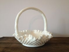 vintage Fenton white hobnail milk glass basket / white milk glass basket / hobnail milk glass / vintage wedding / gift for bride / Fenton