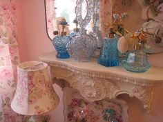 vintage perfume bottles...memories of my mother who made perfume & loved pink and blue glass bottles