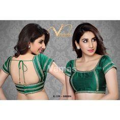 4f63299b8abdaa Dupian Silk Saree Blouse with ethnic embroidery. X129 Green . Muhenera  presents vama designer collection