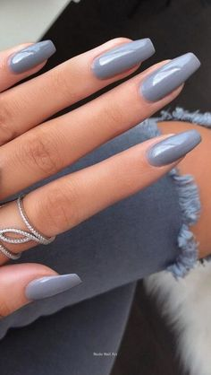 Nude Nail Art Tips and Ideas - Favorite nail colors / Desi .- Nude Nail Art Tips and Ideas – Favorite nail colors / Design – - Grey Acrylic Nails, Simple Acrylic Nails, Gray Nails, Summer Acrylic Nails, Acrylic Nail Designs, Spring Nails, Cute Fall Nails, Grey Nail Art, Neutral Nail Color