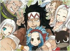 Mirajane, Elfman, Gajeel, Levy, couple, selfie, Pantherlily, Lisanna, Juvia, Evergreen; Fairy Tail