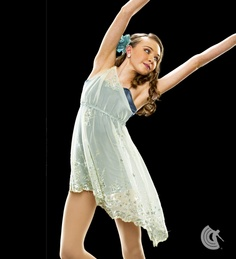 Curtain Call Costumes® - Divine Beauty  Petrol Silhouette poly/spandex boy short leotard with attached embroidered bodice treatment and skirt with metallic trim. INCLUDES: flower headdress.  For Australian information www.curtaincallcostumes.com.au  (02) 96634166 or info@clash.com.au  #dance #costume #australia