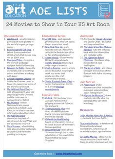 24 Movies to Show in Your High School Art class. 24 movies to show to me! Middle School Art, Art School, School Ideas, School Lessons, Art Lessons, Art Fauvisme, Classe D'art, Art Handouts, High School Art Projects