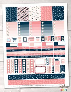 Navy Blue and Pink Printable Planner Stickers Weekly Kit – Instant Download PDF for your Erin Condren Life Planner