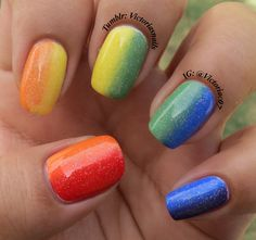 I've been meaning to try one of these rainbow vertical gradients!  Colors used: Zoya - Maura, Jancyn, Josie Sally Hansen - Mellow Yellow, Pacific Blue Sinful Colors - Amethyst China Glaze - Fairy Dust