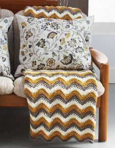 Touch of Honey Ripple Crochet Pattern   A warm, honey gold makes this free crochet pattern pop in any room