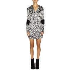 Black/White River Stone Silk Dress