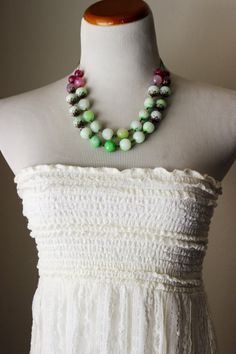 Pink and green bead necklace chunky jade agate beads, Swarovski charm OOAK.