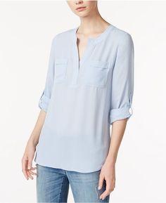 Maison Jules Split-Neck Roll-Tab-Sleeve Shirt, Created for Macy's