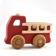 Personalized Toy Fire Truck  Classic Wooden Toy by hcwoodcraft