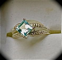Sky Blue Topaz (Sgr 1.40ct.) Diamond Ring in Nickel Free Sterling Silver TDW 1.41 cts. Size 5     $45.00
