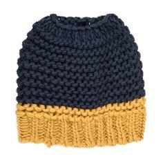Knitted Bun Hat-Navy Blue/Yellow
