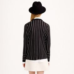 Pinstripe side-slit sweater : sweaters | J.Crew