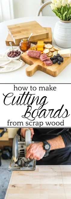 DIY Cutting Boards from Scrap Wood | How to make your own basic DIY cutting boards using scrap wood you already have in your stash to repurpose in your kitchen or give away as homemade gifts. #diygifts #cuttingboard