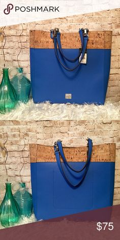 """Ralph Lauren Hanway Blue Tote Bag 100% Authentic Lighthouse Blue, Exterior is Made of a Textured Pebbled Faux Leather with a Upper Cork Accent, Silver-Tone Hardware, Magnetic Snap Closure, 1 Inside Open Slot Compartment, Unlined Gold Metallic Interior, Protective Silver Metal Feet Studs, Double Handles With 9"""" Drop. This item has original tags and shows no visible signs of wear. Measurements: 14.5 x 15 x 4.5 in. Ralph Lauren Bags Totes"""