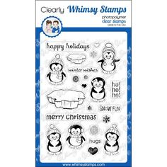 Whimsy Stamps PENGUINS WINTER ADVENTURE Clear Stamps cwsd146 Preview Image