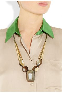 Marni brass, horn, and resin necklace
