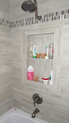 Off Center Shower Niche Bathrooms Pinterest Tiles