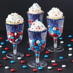 4th of July Cupcakes with a Twist! Serve festive Red, White, and Blue Cupcakes in wine glasses filled with candy for 4th of July, Memorial Day, Veteran's Day or patriotic event.