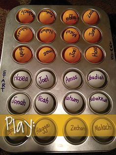 Minor Prophets Muffin Mix Game: orange and white ping pong balls each list names of prophets starting with Hosea and ending with Malachi. First player to order them correctly wins.