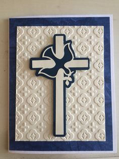 Confirmation card using New Testament Cricut Cartridge, cuttlebug embossing folder, and various paper.