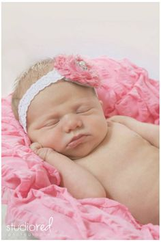 Studio Red Photography- SC// newborn photo idea/ inspiration/ baby girl/ pink headband