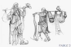 View an image titled 'Romani Sketch' in our Fable 2 art gallery featuring official character designs, concept art, and promo pictures. Character Concept, Character Art, Concept Art, Fable 2, Monochromatic Art, Character Design References, Character Development, Sketch Design, Fantastic Art