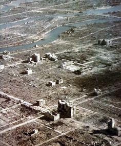 Hiroshima - The heart of the city by air, only the white roads giving an indication of where different buildings once stood. 'Hiroshima - Nagasaki - A Pictorial Record of the Atomic Destruction' 1978
