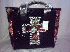 Black cross tote with rhinestones by LalalaBoutique on Etsy, $38.00