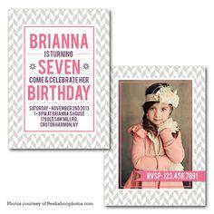 Chevron Print Photo Birthday Invitation Digital by PrintFrameHang, $7.00