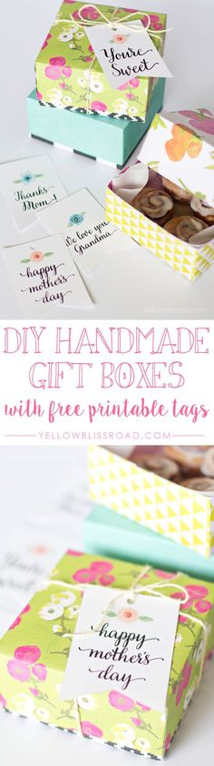 DIY Handmade Gift Boxes with Free Printable Gift Tags