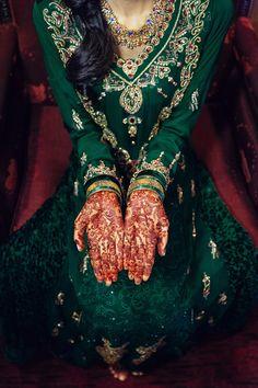 Green and gold divine ensemble perfect for a Muslim bride's mehndi! #pakistanibride #muslimbride - Farha & Raza's Muslim Wedding Photos | VEK Photog 3