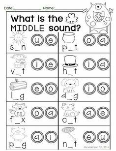 Middle sounds Worksheets for Kindergarten. 20 Middle sounds Worksheets for Kindergarten. Phonics Worksheets, Phonics Activities, Reading Worksheets, Kindergarten Worksheets, Kindergarten Classroom, Classroom Decor, Grande Section, Jolly Phonics, Cvc Words