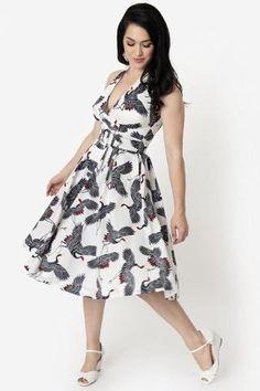 dcea0e5f53a6 Crane Print Halter Tarrytown Hostess Dress by Unique Vintage. Dresses – Modern  Millie Shop