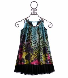 Elisa B Tween Party Dress Blue Leopard