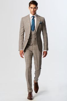 Beige and Teal Silk & Wool Notch Lapel With MF 6-button Shawl Lapel V-Waisted Vest 3 Piece Suit http://www.99wtf.net/trends/mens-urban-shoes-trends/