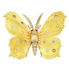 Buccellati Natural Color Diamond Butterfly Pin | From a unique collection of vintage brooches at http://www.1stdibs.com/jewelry/brooches/brooches/