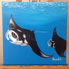 Original Manta Rays Painting by DaydreamingOnCanvas on Etsy