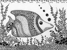 Fish Aquarium ORIGINAL ART- SFA 4.5x6Fantasy Zentangle Black White Tank Goeben