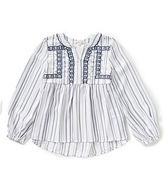 Copper Key Big Girls 716 Striped Embroidered HighLow Top #Dillards