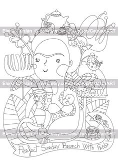 Perfect Sunday brunch with Frida Kahlo - Adult Printable Colouring Page de CatalanART en Etsy